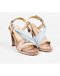Brunello Cucinelli - Nude Gray Leather Jersey Knit Strappy Heeled Sandals - Lyst