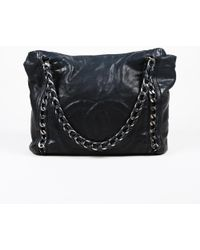 adc74293903a Chanel - Black Leather Silver Tone