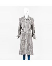 Carolina Herrera - Brown & White Floral Cotton Blend Long Embroidered Coat - Lyst