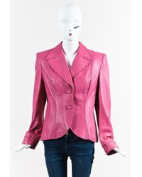ESCADA | Pink Leather Buttoned Jacket | Lyst