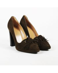 3ca3322c142c Hermès - Brown Suede Knotted Fringe Loafers Pumps - Lyst