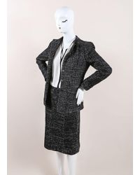 Chanel - 02a Black And White Wool Blend Tweed Skirt Suit - Lyst