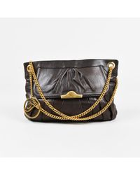 Temperley London - Brown Leather Pleated Chain Shoulder Bag - Lyst