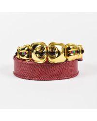 Judith Leiber - Red Karung Snakeskin Embellished Buckle Belt - Lyst