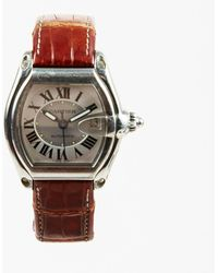 "Cartier - Stainless Steel Brown Crocodile ""roadster"" Watch - Lyst"