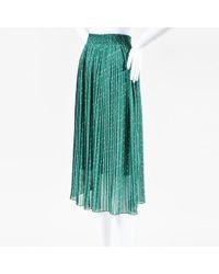 Forever 21 - Hunter Green White Floral Print Pleated Midi Skirt - Lyst