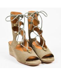 Chloé - Olive Suede Lace Up Peep Toe 50mm Wedge Gladiator Sandals - Lyst