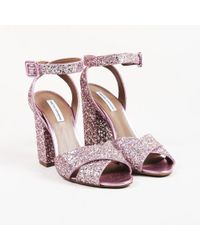 """Tabitha Simmons - Pink Leather Glitter """"connie"""" Sandals - Lyst"""