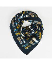 Hermès - Grey Blue & Mustard Yellow Cashmere & Silk Geometric Print Shawl Scarf - Lyst