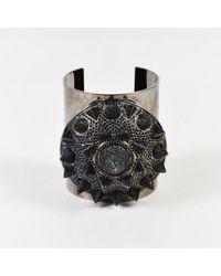 Eddie Borgo - Gunmetal Grey & Black Crystal Studded Metal Cuff Bracelet - Lyst