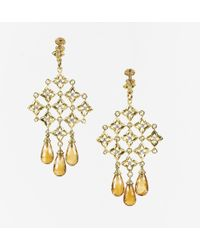 David Yurman - 18k Gold Diamonds & Citrine Quatrefoil Earrings - Lyst