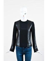 Céline - Black Leather Knit Combo Ls Top - Lyst