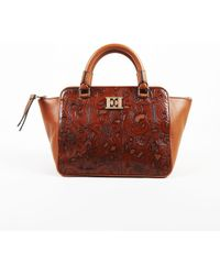 ESCADA - Brown Leather Floral Laser Cut Top Handle Tote - Lyst