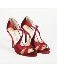 Manolo Blahnik - Satin Strappy Heeled Sandals - Lyst