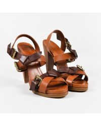Etro - Brown Leather Buckle Cross Strap Stacked Heel Sandals - Lyst