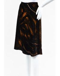 Class Roberto Cavalli Black & Tan Velvet Chain Embellished Skirt