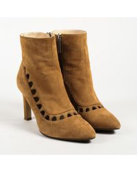 Aquatalia - Brown Suede Cutout High Heel Ankle Boots - Lyst
