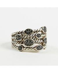 "David Yurman - Sterling Silver Pave Black Diamonds ""confetti Four-row"" Ring Sz 6.5 - Lyst"