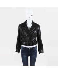 Chrome Hearts - Black Leather Belted Moto Jacket - Lyst