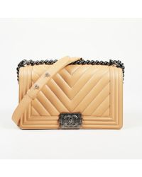 "Chanel - 2016 Chevron Lambskin Leather Small ""boy Flap"" Bag - Lyst"