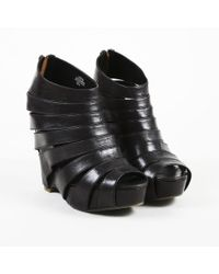 "Ash - Black Leather ""lotus"" Wedge Caged Booties - Lyst"