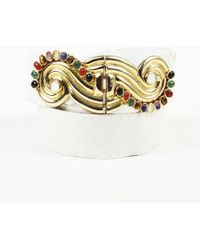 Judith Leiber - Snakeskin Embellished Belt - Lyst