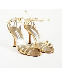 Manolo Blahnik - Gold Leather Lace Up Sandals - Lyst