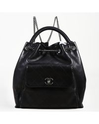 Chanel - Black Leather Backpacks - Lyst