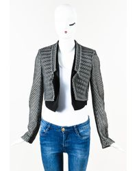 Antonio Berardi - Black White Mesh Neoprene Long Sleeve Bolero Jacket - Lyst