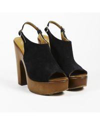 Chanel - Black Brown Suede Slingback Pumps - Lyst