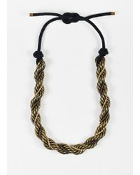 Lanvin - Brass And Gold Toned Chunky Twist Chain Lariat Tie Statement Necklace - Lyst