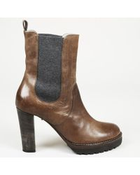 Brunello Cucinelli - Distressed Leather Ankle Boots - Lyst