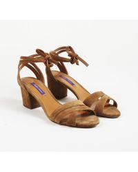 Ralph Lauren - Brown Suede Block Heel Sandals - Lyst