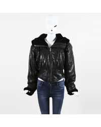 Andrew Marc - Black Leather & Faux Shearling Hooded Jacket - Lyst