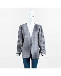 Emanuel Ungaro - Vintage Blue & Cream Striped Single Button Blazer - Lyst