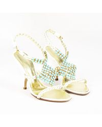 021f829a76a Giuseppe Zanotti - Cream Braided Patent Leather Embellished Sandals - Lyst