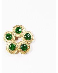 Chanel - Vintage Season 26 Green   Gold Tone Gripoix Logo Flower Brooch -  Lyst c930612e832
