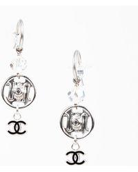 Chanel - 2007 Silver Tone Metal Black Enamel 'cc' Drop Earrings - Lyst