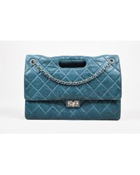 """Chanel - Teal Lambskin Leather Quilted Double Flap Maxi """"takeaway"""" Bag - Lyst"""