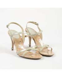 Chanel - Beige Patent Leather Cork Sandals - Lyst