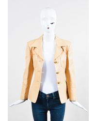 Céline - Vintage Beige Nude Lambskin Leather Ls Buttoned Blazer Jacket - Lyst