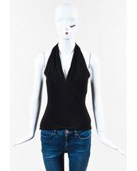 Yigal Azrouël - Black Crepe Knit Sl Gathered V Neck Halter Top - Lyst