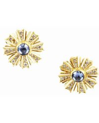 Arman Sarkisyan - Blue Sapphire Diamond & 22 Karat Yellow Gold Sunburst Earrings - Lyst