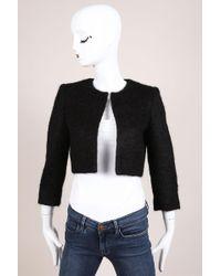 Giambattista Valli Black Wool Blend Fuzzy Cropped Jacket