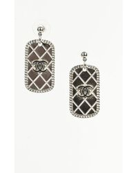 Chanel | Spring 2009 Silver Tone Enameled Quilted 'cc' Dog Tag Drop Earrings | Lyst