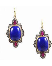Arman Sarkisyan - Multicolor 22k Gold Silver Ruby Lapis Lazuli & Diamond Earrings - Lyst