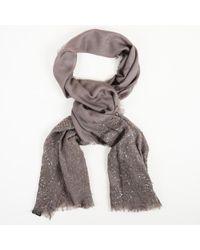 Loro Piana Grey Silk & Cotton Sequin Embellished Scarf