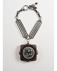Lanvin - Silver Toned And Brown Wood Oversized Crystal Pendant Necklace - Lyst