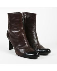 Chanel - Quilted Leather Ankle Boots - Lyst