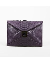 "Kara Ross - Purple Python Embellished ""prunella"" Clutch Bag - Lyst"